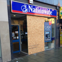 Commercial Shop Window Boarding Up Service By Accredited Lockfit Locksmith